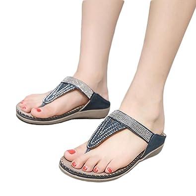 QinMM Damen Flache Schuhe Bead Bohemia Lady Slippers Sandalen Peep-Toe Outdoor Schuhe Slipper Sommer Strand Schuhe...