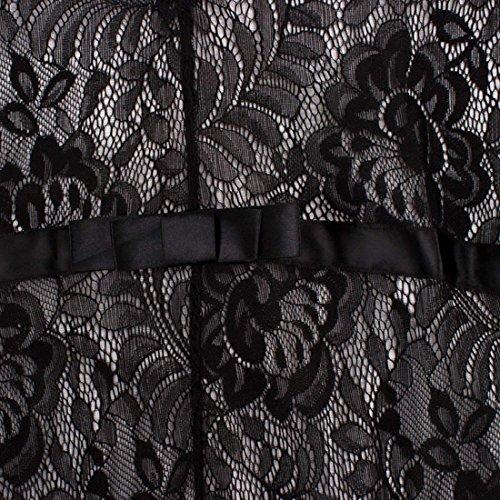 U-shot Mujer V Cuello Floral Encaje Vintage Elegante Vestido de Noche Largo Vestidos Negro