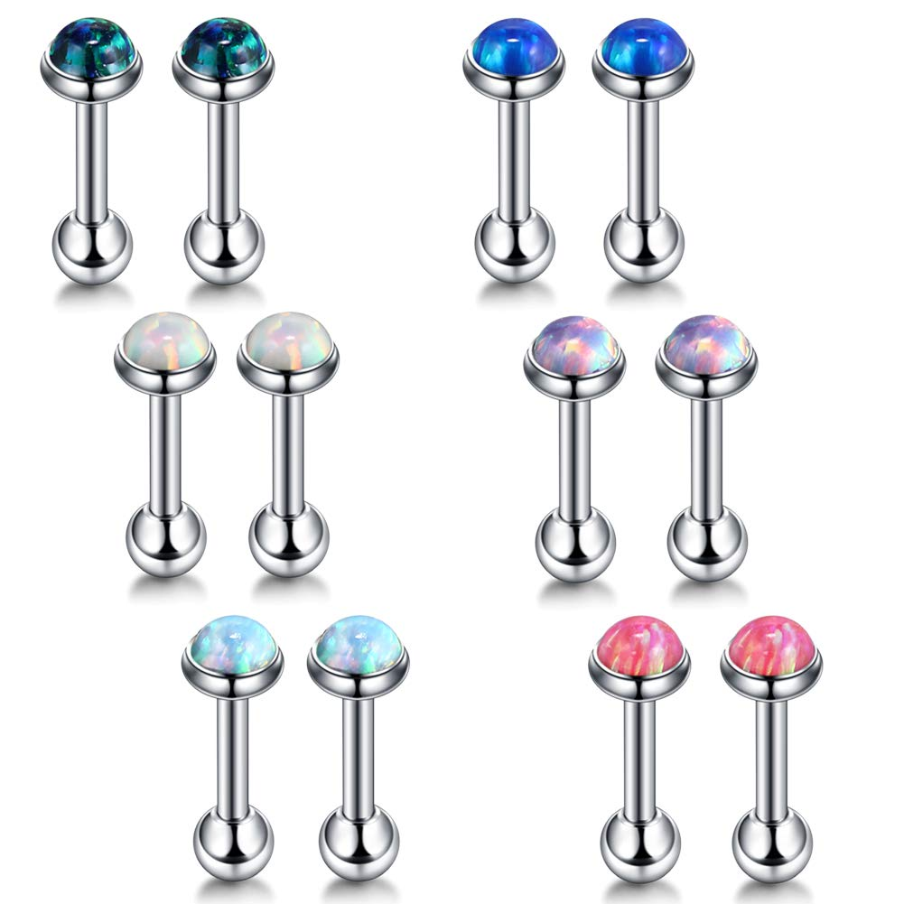 Xpircn 16G Tragus Helix Piercing Opal 3mm Cartilage Stud Earrings for Women (6 Pairs) by Xpircn