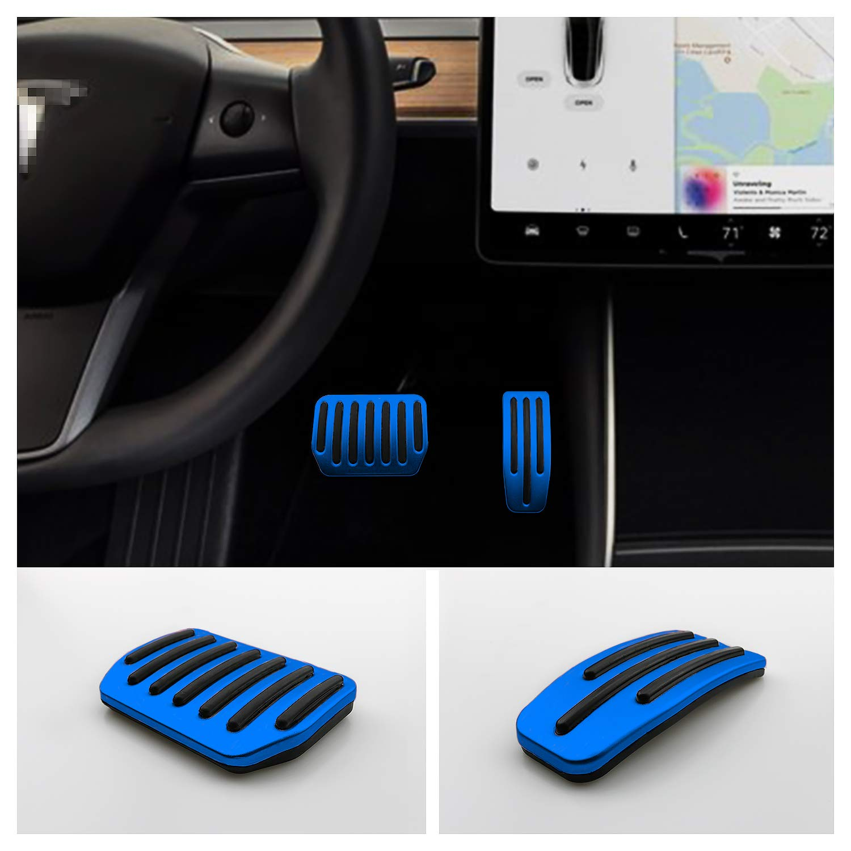LFOTPP 2PCS Aluminum Alloy Footrest Pedals Cover for Tesla Model 3 Anti-Slip Accelerator Brake Foot Pedal Red