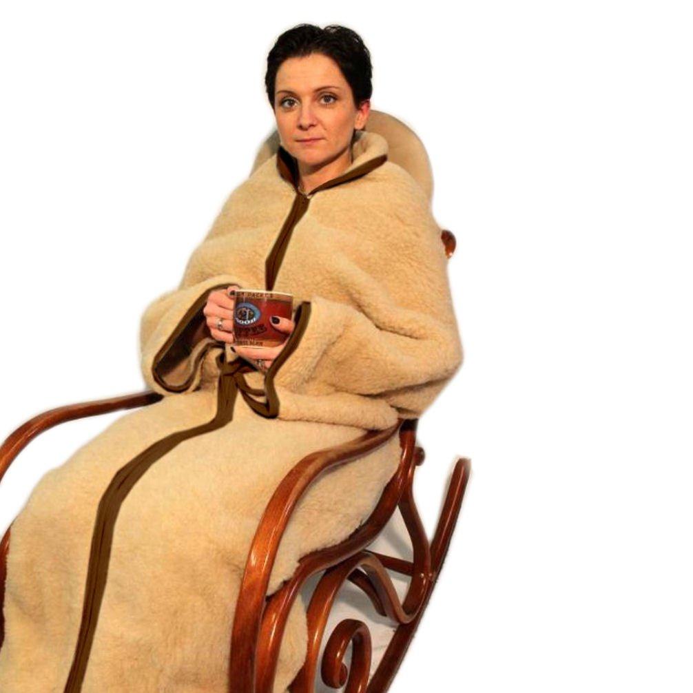 Wärmedecke natürliche Komfortdecke Schlafsack Wohnmantel Relax Decke mit Reißverschluß 100 % Merino Wolle