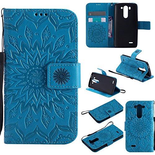 NEXCURIO [Embossed Flower] LG G3 Vigor / G3 S / G3 Beat Wallet Case with Card Holder Folding Kickstand Leather Case Flip Cover for LG G3 Vigor / G3 S / G3 Beat (Blue) ()