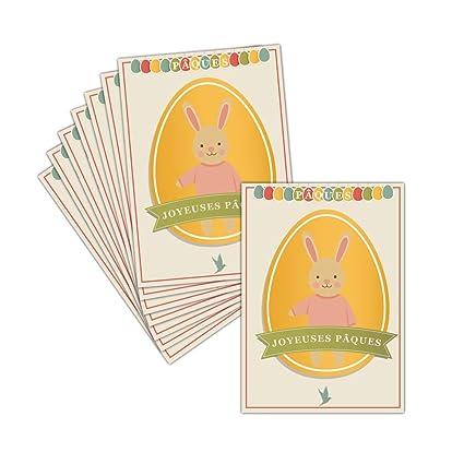 Tarjeta feliz Pascua - 8 tarjetas - Tarjeta grande de huevo de ...