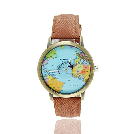 Mapas del Mundo Patrón de avión Correas de Lona Diseño de Moda Movimiento de Cuarzo Relojes de Pulsera Banda de Reloj Unisex Hombres Mujeres - Café: ...