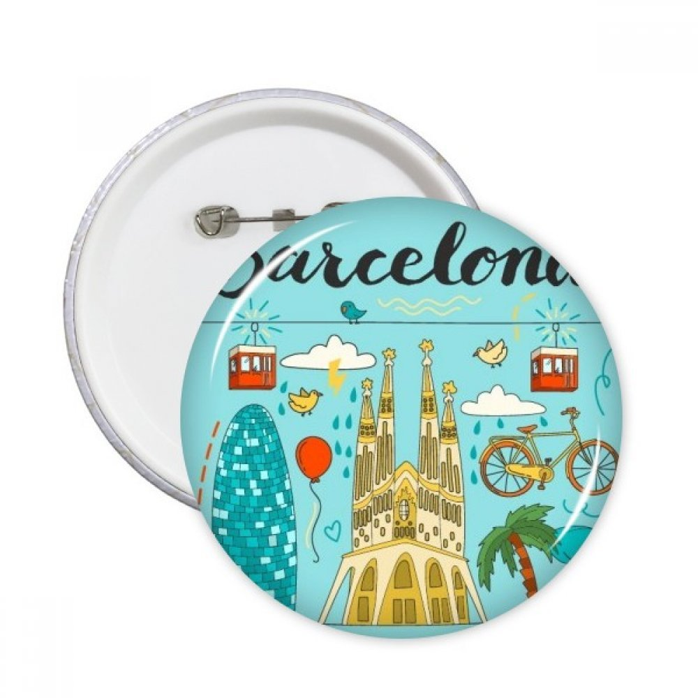 Barcellona Spagna Sagrada familia Round pins distintivo pulsante abbigliamento decorazione Gift 5PCS S DIYlab sku00210608f14984-S