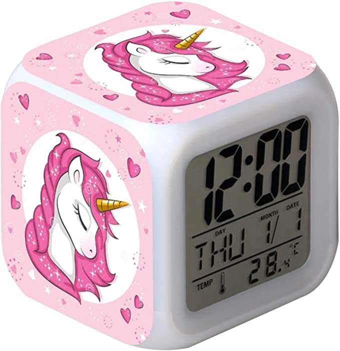 Lafocuse R/éveil Enfant Licorne Rigolo Cadran de 10cm Double Cloche Rose Horloge de Table Sanc Bruit Tic-tac avec Lumi/ère