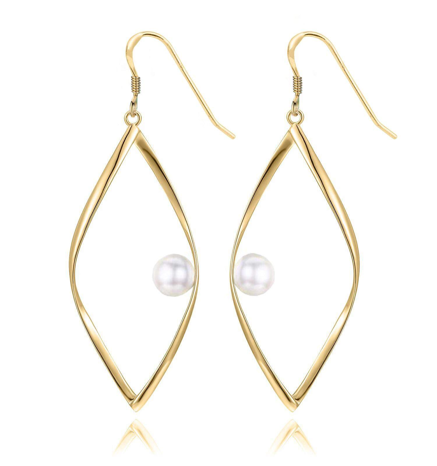 Pearl Earrings, Gold Dangle Earrings 14K Gold Plated Sterling Silver with Pearl Teardrop Earrings for Wedding
