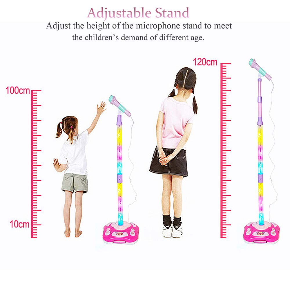 AUX Cable Connect to Mobile Music Devices Karaoke Machine Kids Microphone Music Toy Play Set with Microphone /& Adjustable Colorful LED Stand FillADream Rechargeable Kids Karaoke Machine