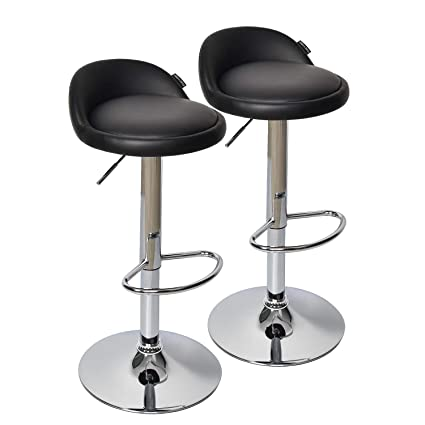 Prime Fullwatt 2 Pcs Pu Leather Adjustable Barstools Chairs Adjustable Swivel Bar Stools Kitchen Counter Top Black Squirreltailoven Fun Painted Chair Ideas Images Squirreltailovenorg