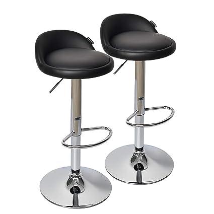 Fine Fullwatt 2 Pcs Pu Leather Adjustable Barstools Chairs Adjustable Swivel Bar Stools Kitchen Counter Top Black Bralicious Painted Fabric Chair Ideas Braliciousco
