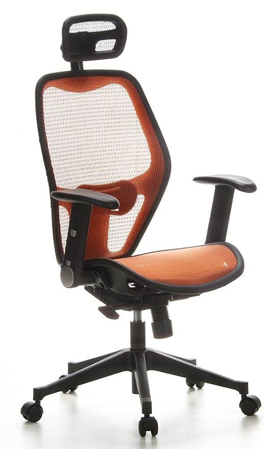 hjh OFFICE 653080 silla de oficina AIR-PORT tejido de malla naranja, apoyabrazos plegables, soporte lumbar, apoyacabezas, inclinable, sillón alta gama