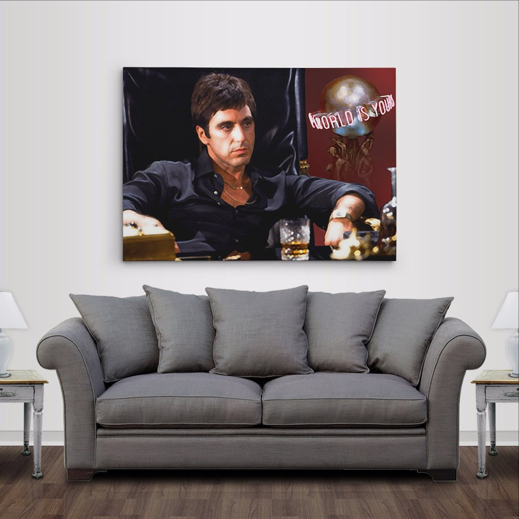 Amazon al pacino scarface the world is yours canvas print amazon al pacino scarface the world is yours canvas print poster painting photo wall art 24x36in posters prints jeuxipadfo Images