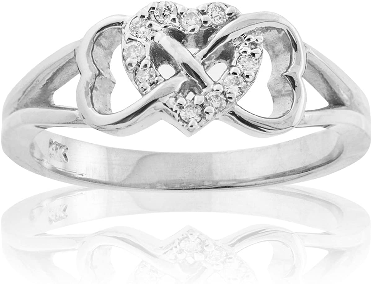 925 Solid Sterling Silver Heart Infinity high polished love ring band for women