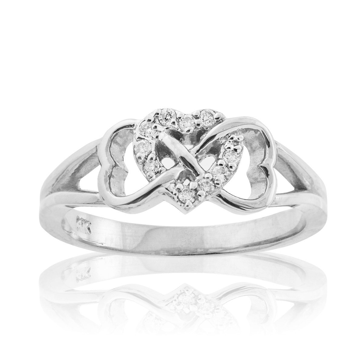 Solid 10k White Gold Diamond Triple Heart Infinity Ring (Size 7.5)