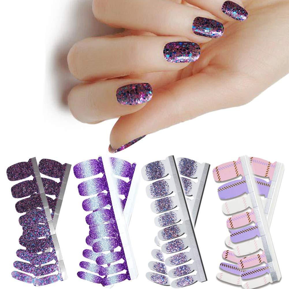 LIULI 4 Sheets Nail Wraps Art Polish Strips Gradient Purple Stickers Adhesive False Nail Designs Manicure Set with 1Pc Nail Buffers Files For Women Girls by LIULI