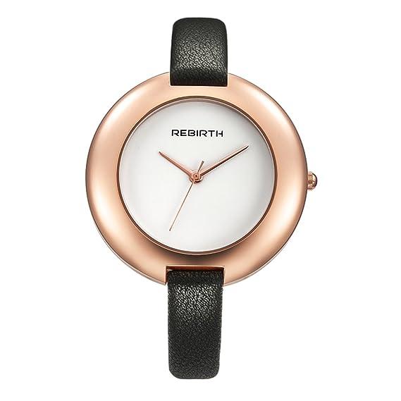 Souarts mujer negro piel Artificial no números grandes Dial Analógico de Cuarzo Reloj de pulsera reloj de pulsera, pulsera: Amazon.es: Relojes