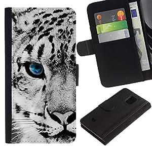 JackGot ( Leopardo de nieve ) Samsung Galaxy S5 Mini (Not S5), SM-G800 la tarjeta de Crédito Slots PU Funda de cuero Monedero caso cubierta de piel