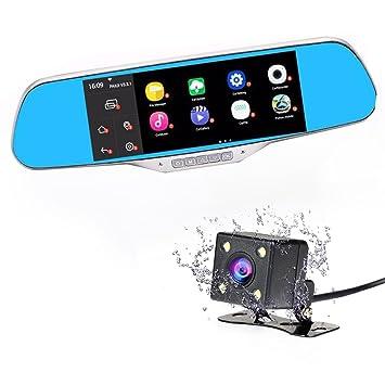 Dash Cam espejo, espejo retrovisor de doble lente DVR salpicadero cámara, Android visión nocturna