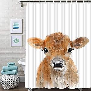 Guftay Farmhouse Animal Shower Curtain, Baby Cow Farm Nursery Wall Art Printable Kids Bedroom Woodland Shower Curtain, Waterproof Fabric for Bathroom Decor Shower Curtains Set with Hooks, 72