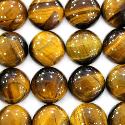 16 Mm Tiger (10pcs Natural Gemstone Coin 16mm Cabochons for Jewelry Making Beads Cabs (Tiger's)