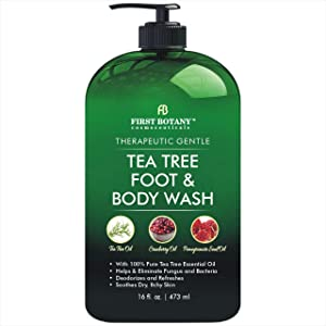 100% Natural Tea Tree Body Wash & Foot Wash - Fights with Corns, Calluses, Dandruff & Warts, Nail Issues, Athletes Foot, Ringworms, Acne treatment, Eczema & Body Odor, Jock Itch - 16 fl oz with dispenser pump
