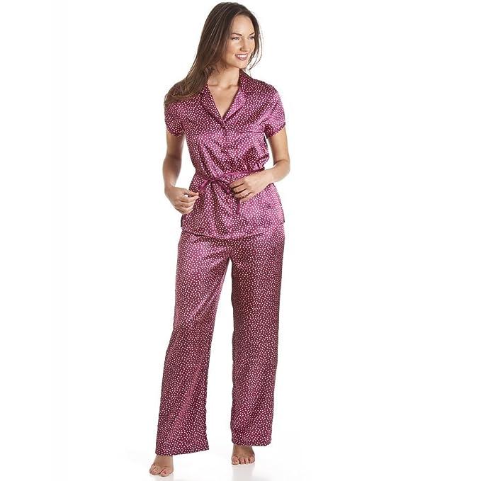 Conjunto de pijama satinado con cinturón - Diseño a lunares - Rojo: Amazon.es: Ropa y accesorios
