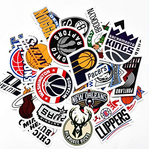 NBA Team Stickers Set 30Pack All Teams Collection Sticker Decals Packs for Water Bottle Laptop Cellphone Skateboard Bicycle Motorcycle Car Bumper Luggage Travel Case