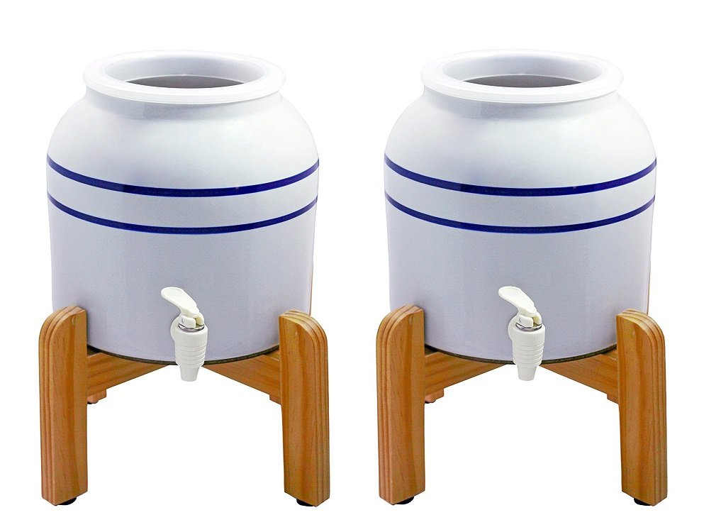 New Wave Enviro Porcelain Dispenser with Wood Counter Stand, Blue Striped (Pack of 2)