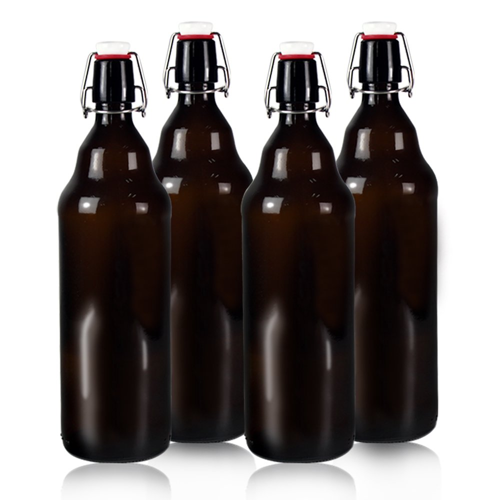 YEBODA 32 oz Amber Glass Beer Bottles for Home Brewing with Flip Caps, Case of 4