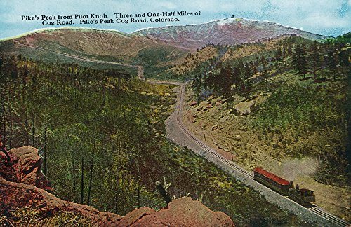 (Colorado - View of the Cog Rail Train and Pikes Peak from Pilot Knob (24x36 SIGNED Print Master Giclee Print w/Certificate of Authenticity - Wall Decor Travel Poster))