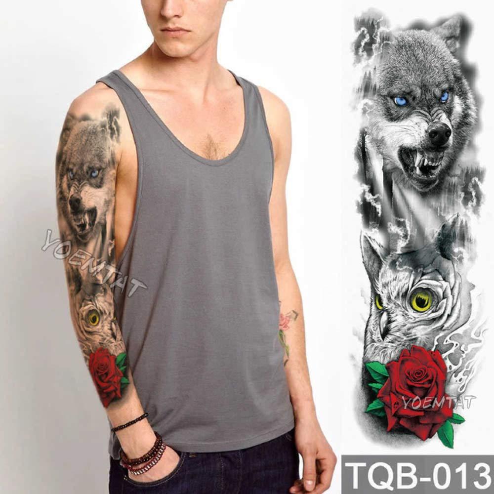 Tatuaje de manga de brazo grande León Rey Rey Rosa Etiqueta ...
