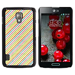 KOKO CASE / LG Optimus L7 II P710 / L7X P714 / rayas de colores del arco iris pintado de color rojo / Delgado Negro Plástico caso cubierta Shell Armor Funda Case Cover
