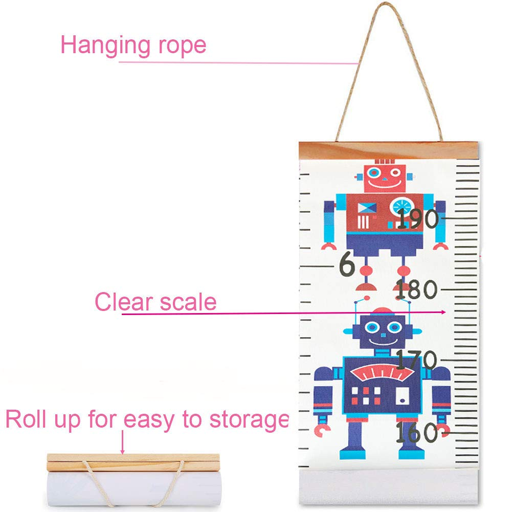 Easy to Read Numbers Hanging Height Measurement Ruler Wood Frame Canvas Fabric Wall Charts Nurseryroom Bedroom Decoration Decorative Growth Charts for Children