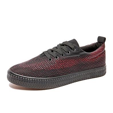 Espadrilles Mens Canvas Shoes Casual Shoes Lace-up Sneakers Flat Loafers Deck Shoes (Color : Black Size : 44)
