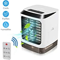 Portable Air Conditioner, 3 in 1 Mini Personal Air Conditioner, Humidifier Purifier & Evaporative Desktop Cooling Fan, Personal Air Cooler Table Fan for Home Bedroom Office Wireless Remote Control