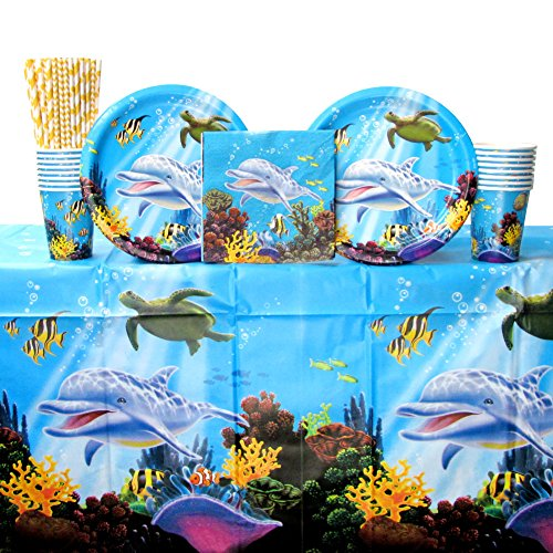 Cedar Crate Market Bundle: Ocean Party Tableware Supplies Bundle for 16 Guests: Straws, Dinner Plates, Luncheon Napkins, Cups, and Table Cover