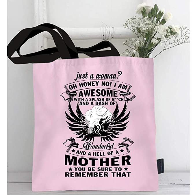 52ef970f5c52 Amazon.com: I'm An Awesome Mother Bags with Long & Durable Handles, Just A  Woman Craft canvas bag (Tote Bags - Light Pink): Shoes