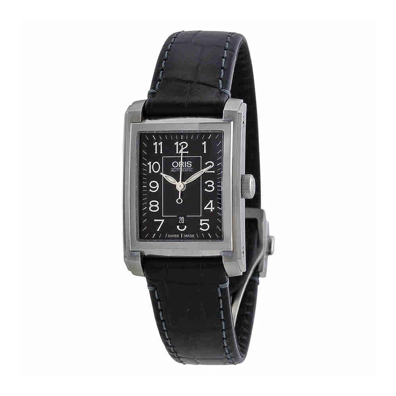 Oris自動ブラックダイヤルブラックレザーLadies Watch 561 – 7656 – 4034ls B00MY9Z1JA