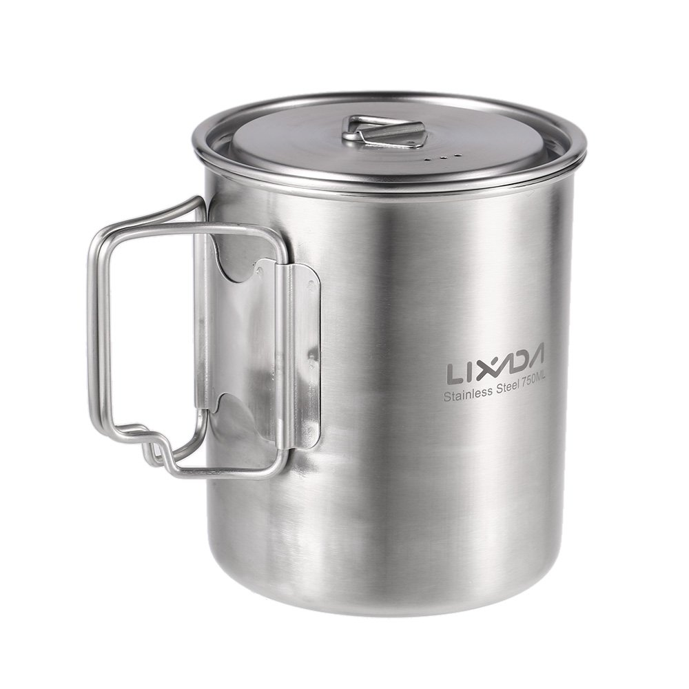 Lixada Camping Cup Pot,750ml Stainless Steel Water Cup Mug with Foldable Handles and Lid for Outdoor Camping Hiking Backpacking by Lixada