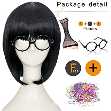 Short Curly Dark Orange And Reddish Brown Hairstyle Prestyled Halloween Cosplay Wigs For Women Anime Costume Party Wig With Bangs And Free Eye Mask
