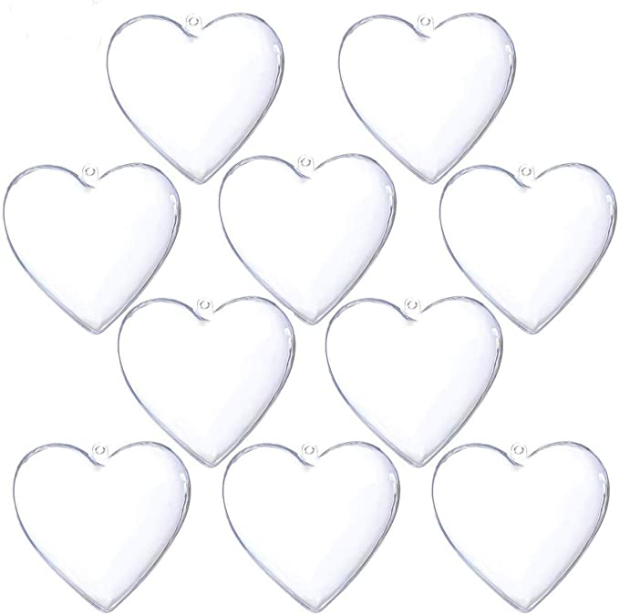 25 PCS Clear Plastic Ball Star Heart DIY Fillable Christmas Ornament Craft Gift