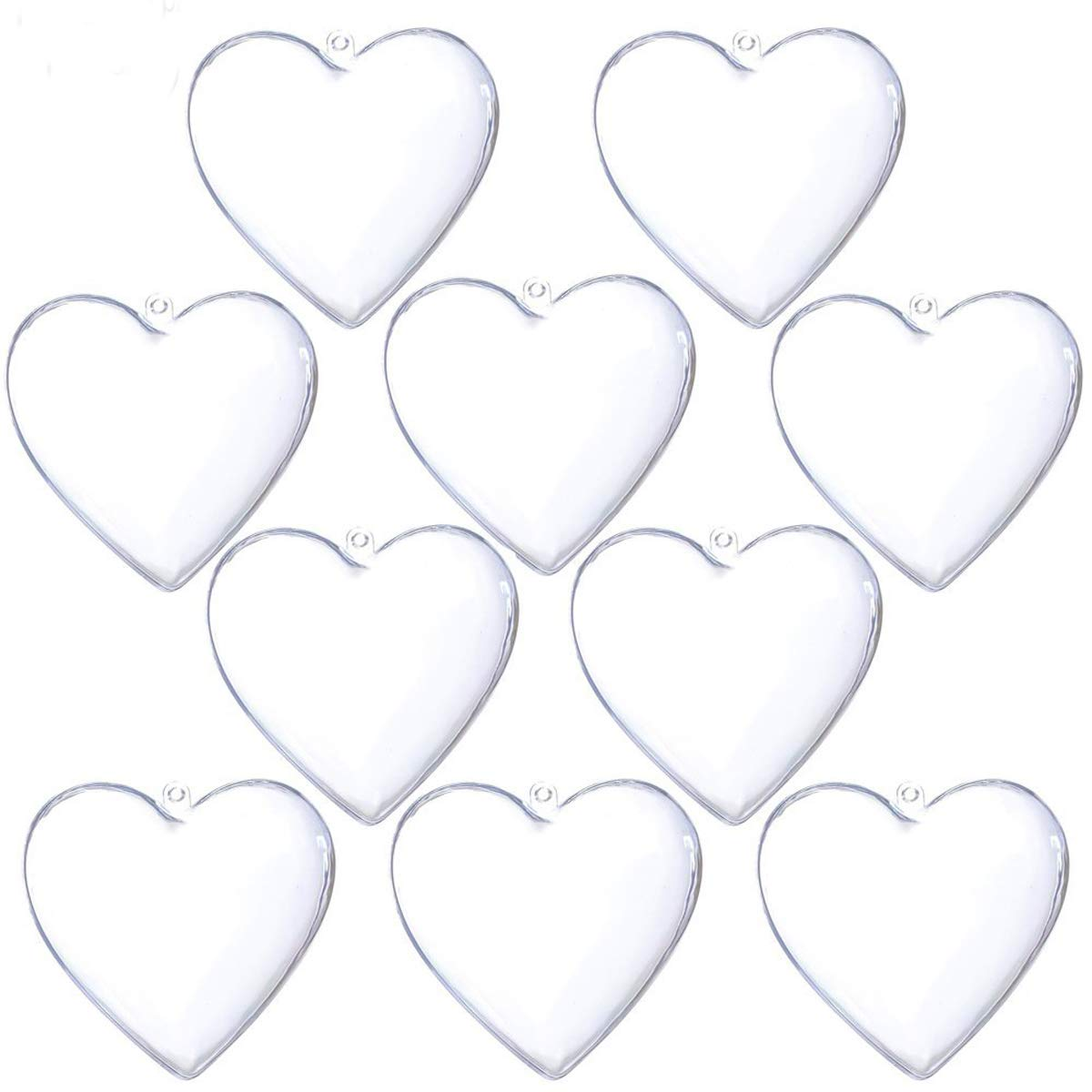 Clear Plastic Fillable Christmas DIY Craft Ball Ornaments 10 pcs 3.94 inch (Heart)