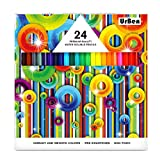 Toys : Colored Pencils UrBen Colored Pencil Set with 24 Pieces, Pre-sharpened Pencils for Coloring, Mixing, Great Art Tool for Kids, Students, Adults and Artists