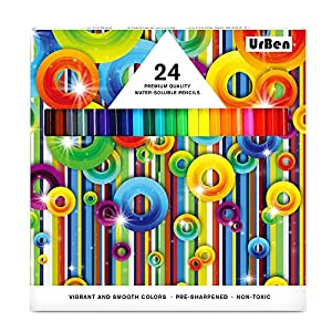 Colored Pencils UrBen Colored Pencil Set with 24 Pieces, Pre-sharpened Pencils for Coloring, Mixing, Great Art Tool for Kids, Students, Adults and Artists