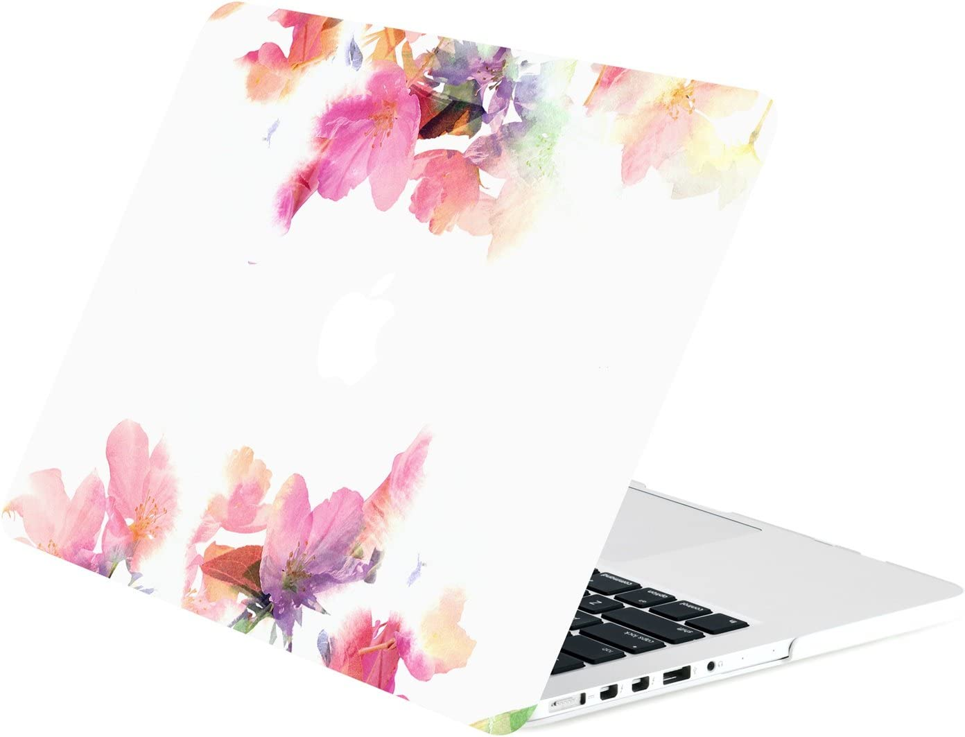 """TOP CASE - Floral Reflection Pattern Graphic Rubberized Hard Case Compatible MacBook Pro 13"""" with Retina Display (Release 2012-2015) Model: A1425 / A1502 – Violet Reflection"""