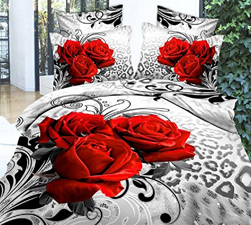 Ammybeddings Queen Size Duvet Cover Sets,3D Flower Luxury Red Rose Bedding Sets, 1Duvet Cover,1 Flat Sheet, 2 Pillow Cases,4 Piece Soft 3D Bedding Sets ,Polyester(Rose, King)
