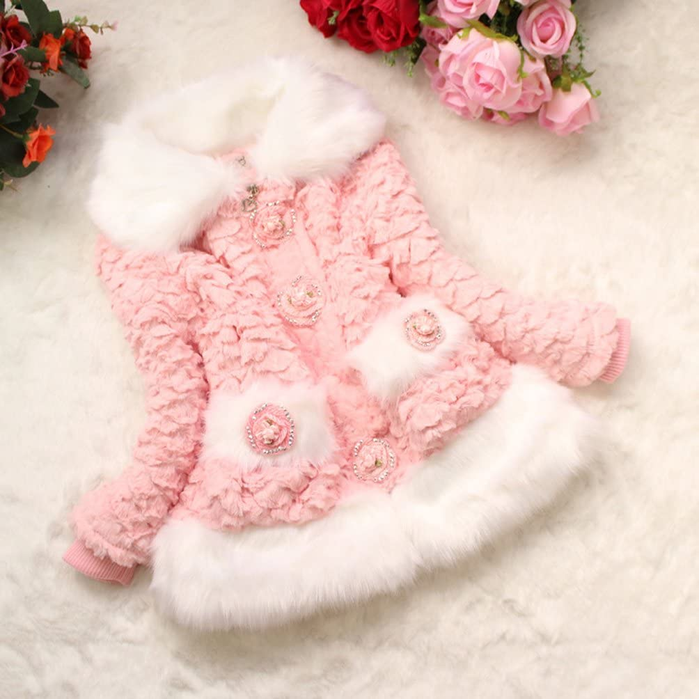 Dolpind Kids Baby Girls Toddler Fur Hairy Flowers Birthday Party Coat Jacket Snowsuit Outwear
