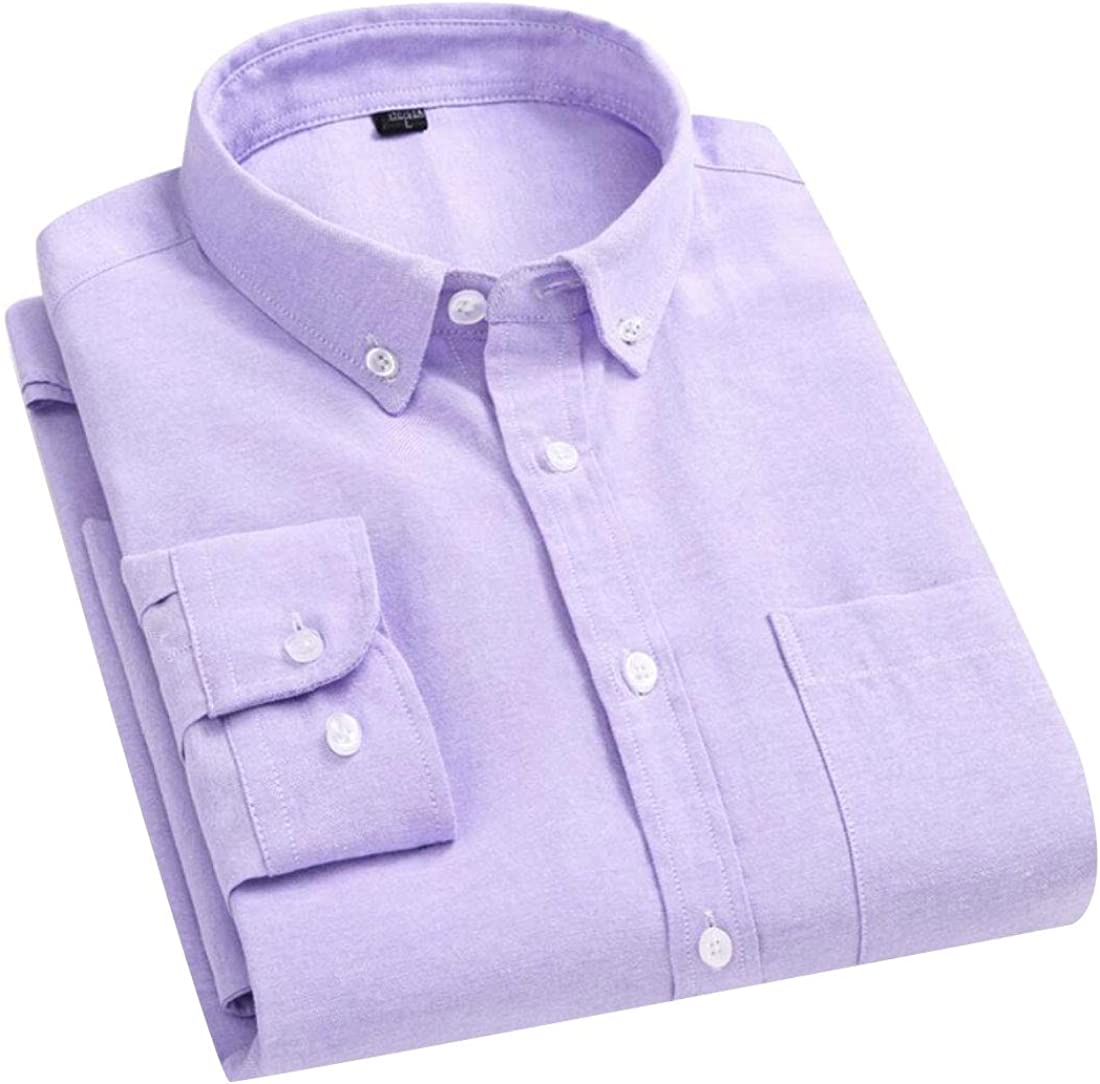 WSPLYSPJY Mens Slim Oxford Casual Long Sleeve Solid Button Front Shirts