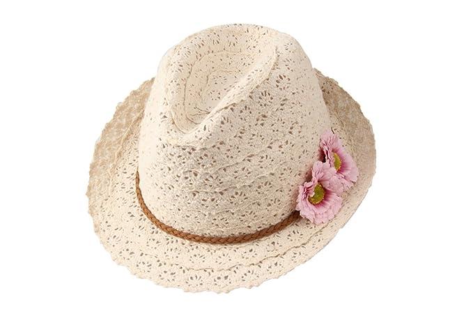 Dantiya-moda Donne Ragazza Beige Estate Cappelli da Sole con due Fiori 09cd4509d5c4