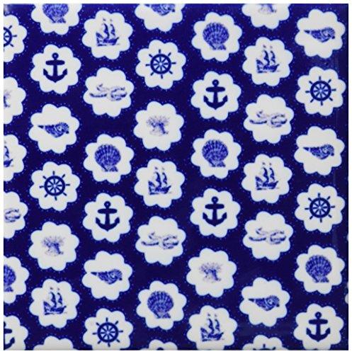 3dRose cst_76638_3 Navy Blue Nautical Pattern-Vintage Seashells Starfish Anchors Sailboats Ships, Sailor Wheels-Ceramic Tile Coasters, Set of 4 (Tile Pattern Coaster)